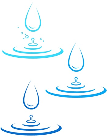 set with water splash silhouette and big falling drop on white background Vector