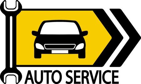 panneau d'information avec la voiture, clé moderne et la flèche