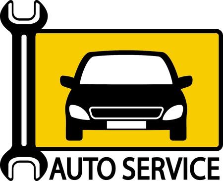 mecanico automotriz: señal de tráfico Autoservice con el coche y llave grande sobre fondo amarillo