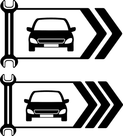repair road: set of two road sign of car repair on white background Illustration