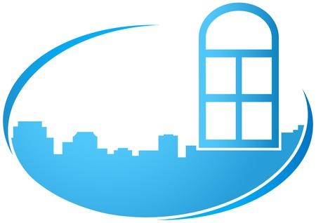 finestra: icona blu con la finestra e la silhouette della città Vettoriali