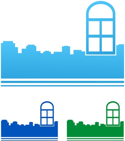 set of icons with colorful windows and city silhouette Stock Vector - 18895093
