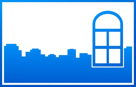 blue window and  modern city silhouette with place for text Stock Vector - 18895091