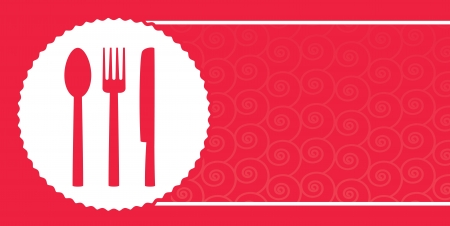 red background with pattern for restaurant menu and plate, fork, knife Illustration