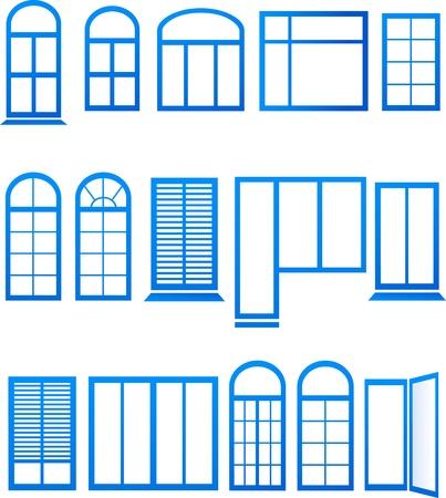 set blauwe venster pictogrammen op witte achtergrond