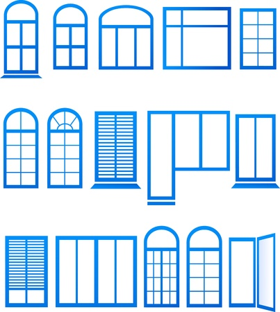 windows and doors:  set of blue window icons on white background