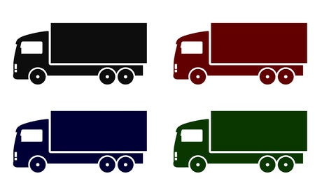 set with colorful truck icons on white background Vector