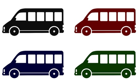 minibus:   set of colorful delivery minibus icons on white background