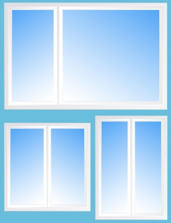 set with window silhouette and blue light sky background Stock Vector - 19303000
