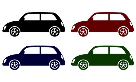 set of colorful retro cars icons on white background
