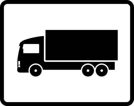button with black isolated shipping truck silhouette Vector