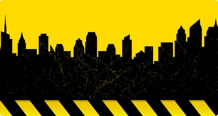 warning tape: yellow sky background with construction sign and city