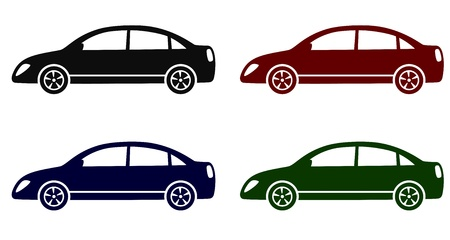 set with colorful modern cars on white background Vector