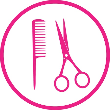 icon with pink scissors and comb on white background  Stock Vector - 19907140