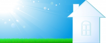 background with blue sky, green grass and country house Stock Vector - 19907143