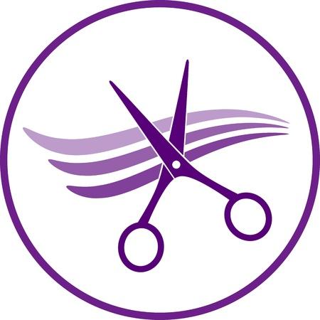 hairstyling: icono de peluquer�a con el pelo y las tijeras en el marco Vectores