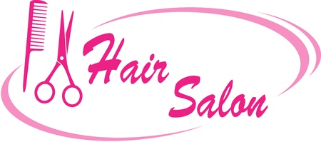 hair salon sign with pink scissors and hairdresser comb Illustration