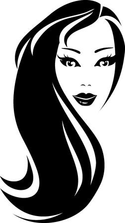 peluquerias: silueta negro hermosa mujer con pelo largo
