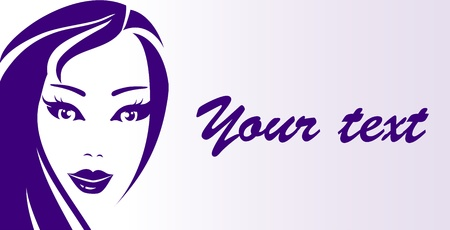business card with beautiful woman face and place for text Stock Vector - 20307851