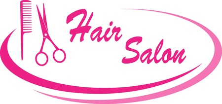 modern pink hair salon sign with design elements and text Фото со стока - 20307909