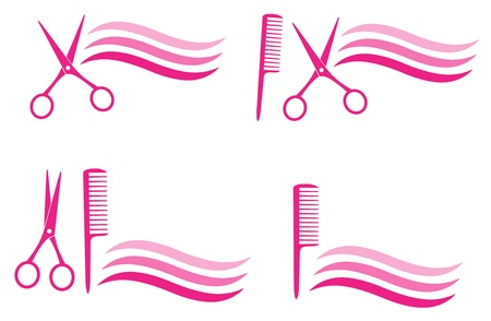 set of isolated design elements for hair salon on white background