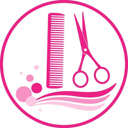 sign with hairdresser scissors and comb on white background Stock Vector - 20307852