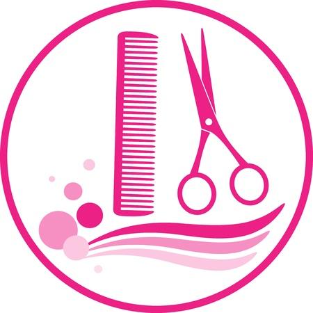 peigne et ciseaux: signer avec des ciseaux de coiffeur et peigne sur fond blanc