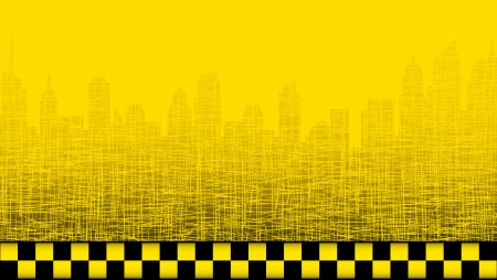 employ:  yellow taxi background with city landscape and taxi sign