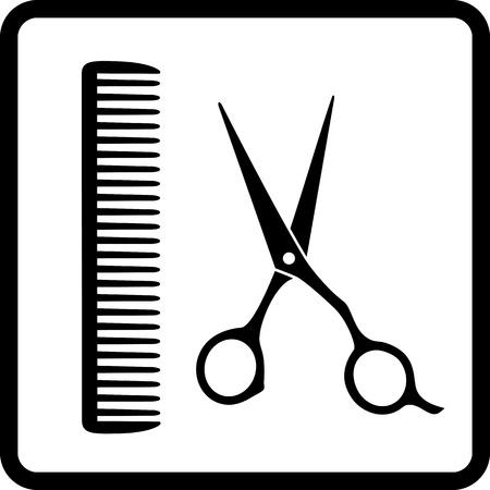 人間の髪サロンとはさみそして櫛の黒い印
