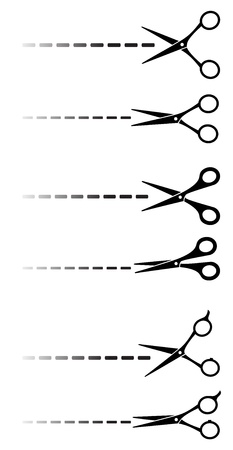 set of black scissors with cut lines on white background Stock Vector - 20307859
