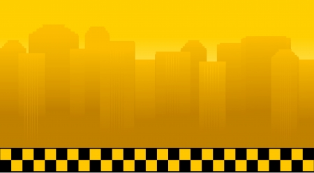 taxi background with city landscape and many houses