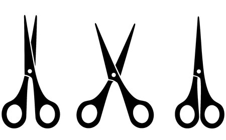 scissors: three black scissors on white background Illustration