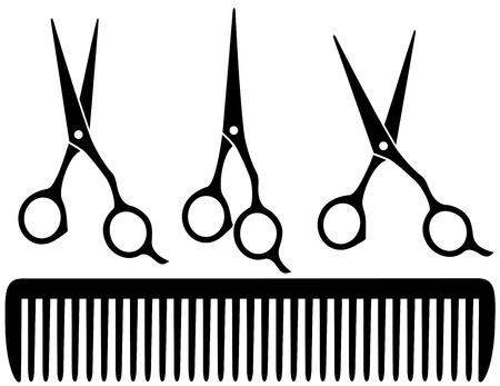 peine: conjunto de tijeras profesionales negras sobre fondo blanco y un peine Vectores