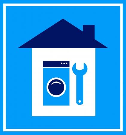 upkeep:   blue sign with house, wrench and washing mashine silhouette Illustration