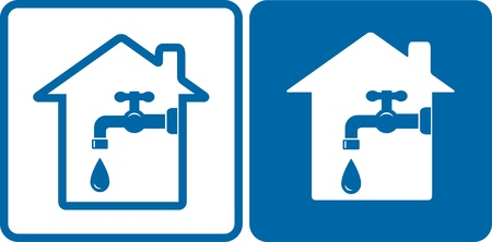 engeneering: blue set with house silhouette and tap with drop