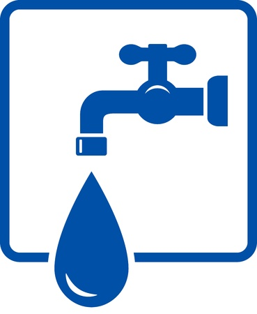 plumbing repair: plumbing icon with tap and water drop on white background