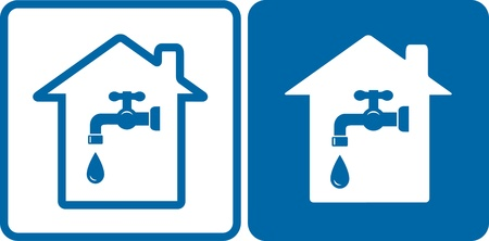outline blue:  set of house and water tap on blue and white background