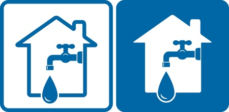 engeneering: houses with modern tap and big water drop silhouette Illustration