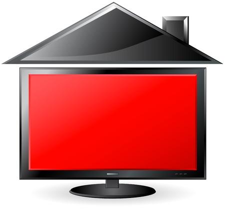 plasma screen:   TV house with red plasma screen
