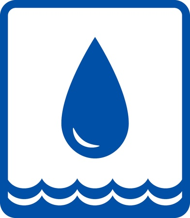 icon with blue glossy water drop and wave Çizim