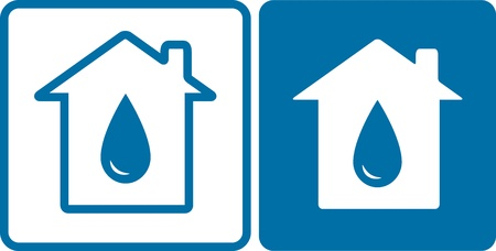 two blue house icons with big water drop silhouette Vector