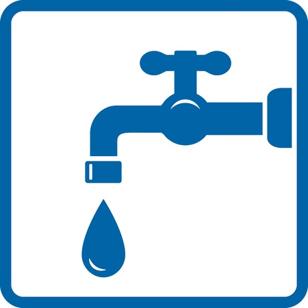 washstand:   blue icon with tap and drop on white background