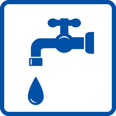 blue icon with faucet and falling water droplet Illustration
