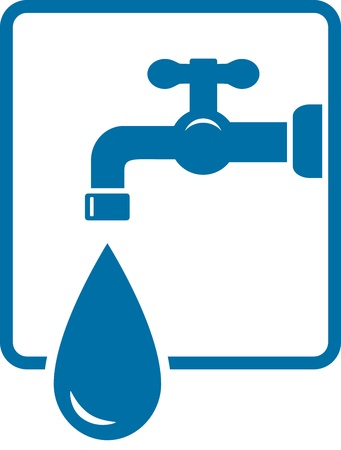 sign with tap and big water drop in frame on white background Vector