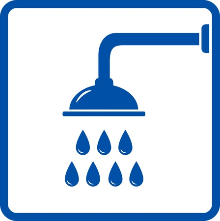 shower:  graphic icon with shower head and water Illustration