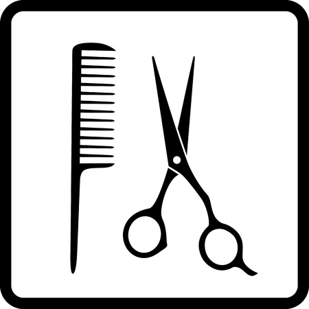 black hair salon sign with scissors and comb Vector