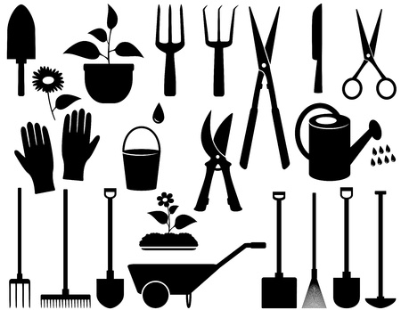 cultivator:  agricultural set with black isolated garden tools
