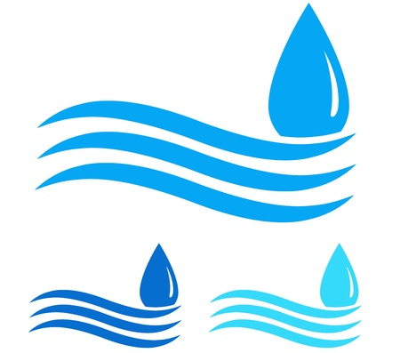 blue water droplet and wave on white background Vector