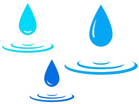 blue water splash and falling drop on white background Ilustração