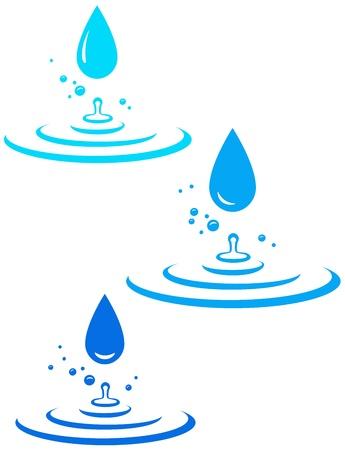 많은 물과 푸른 얼룩 흰색 배경에 삭제 일러스트